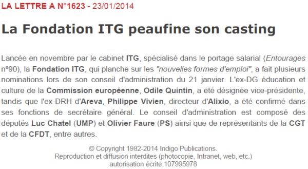 la lettre A du 23/01/2014 : la Fondation ITG peaufine son casting