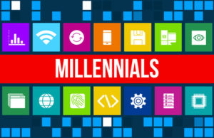 Millennials concept image with business icons and