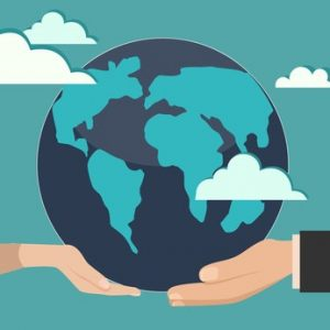 Human hands holding globe on it environmental care and social responsibility flat poster vector illustration.Globe in businessman hand vector