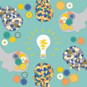The emergence of ideas, the mosaic head of man, illumination and creativity, teamwork
