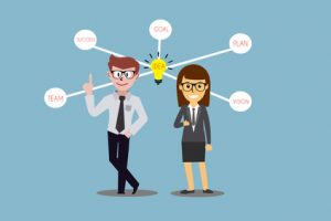 Young business people, man and woman