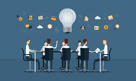 vector business teamwork meeting and brainstorm